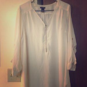 Ivory zip up blouse